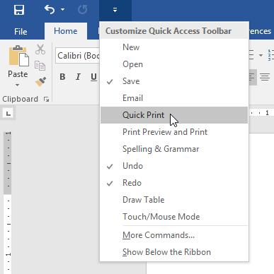 menambahkan perintah Quick Print ke Quick Access Toolbar