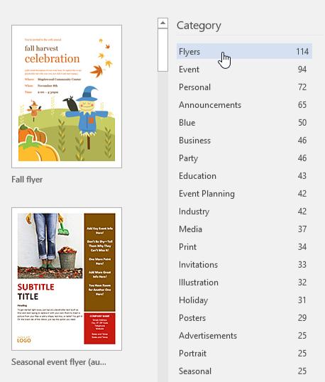 penjelajahan template berdasarkan kategori